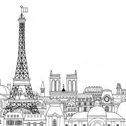 Раскраски сложные для взрослых антистресс город «Эйфелева башня в Париже», чтобы распечатать