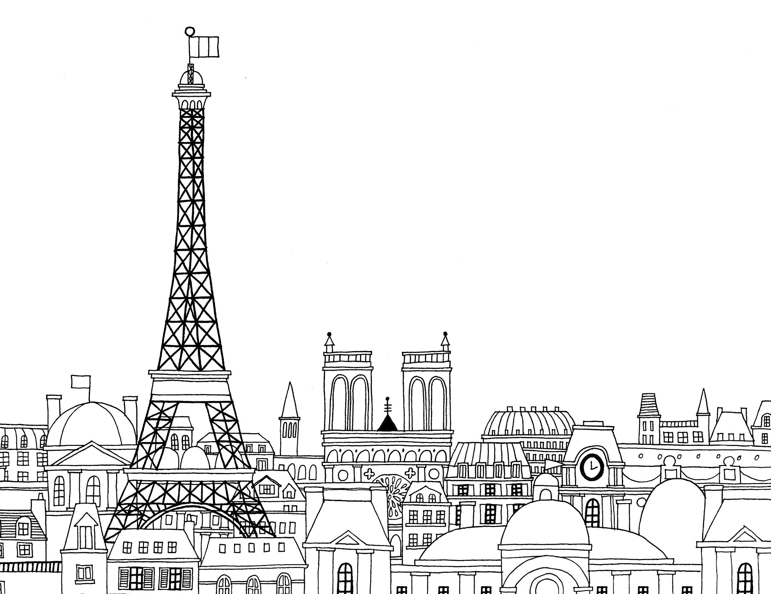 Раскраски сложные для взрослых антистресс город «Эйфелевая башня в Париже», чтобы распечатать
