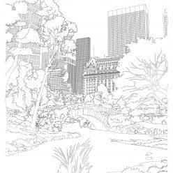 Раскраски сложные для взрослых антистресс «Парк в Нью Йорке», чтобы распечатать