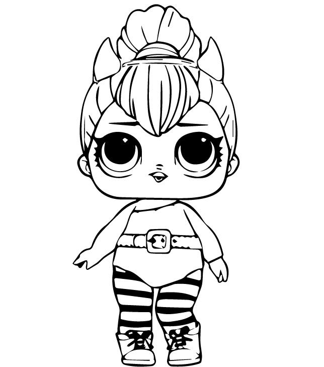 Раскраски кукла лол для детей «Перчинка», чтобы распечатать