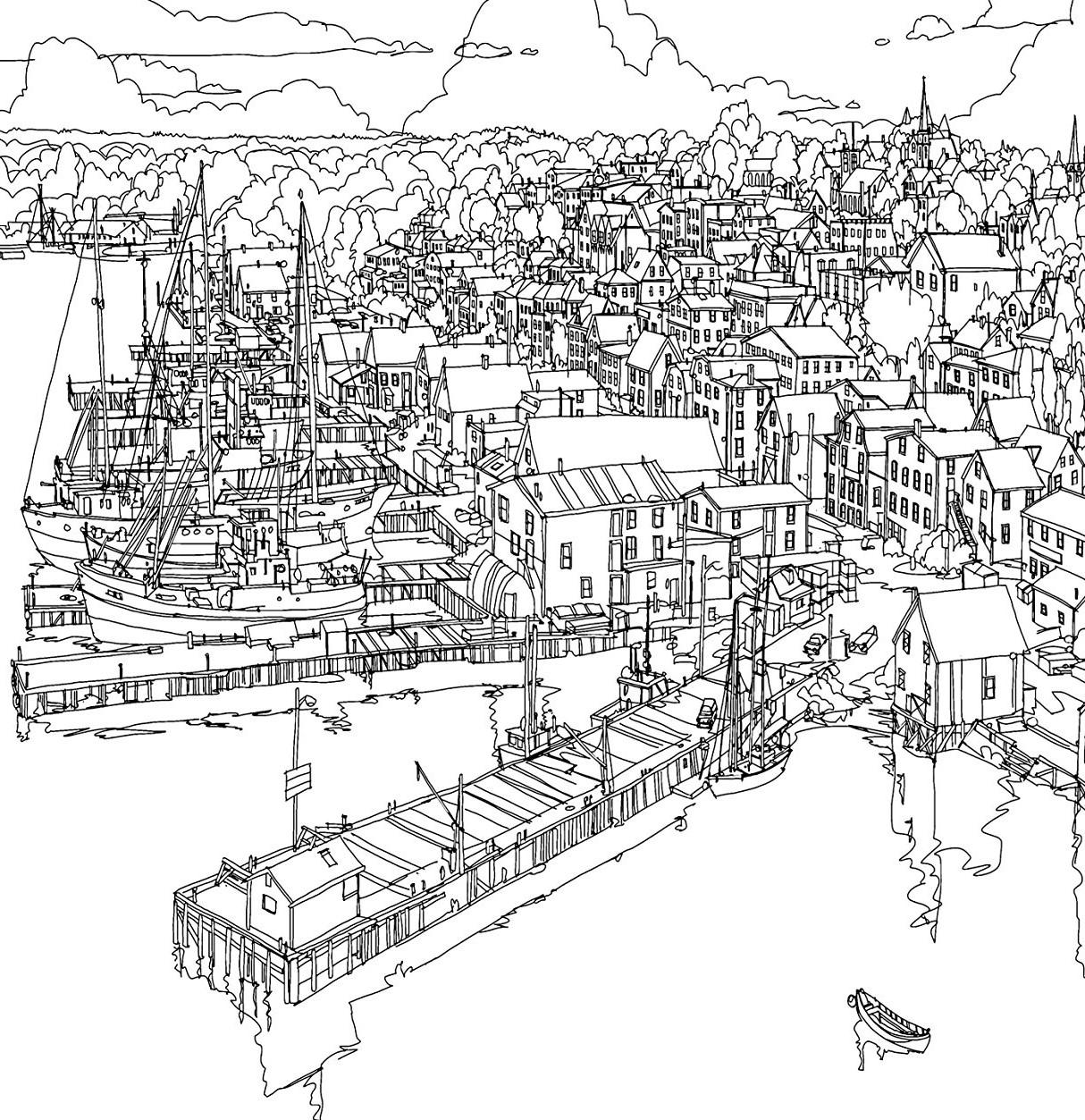 Раскраски сложные для взрослых антистресс «Порт в городе», чтобы распечатать