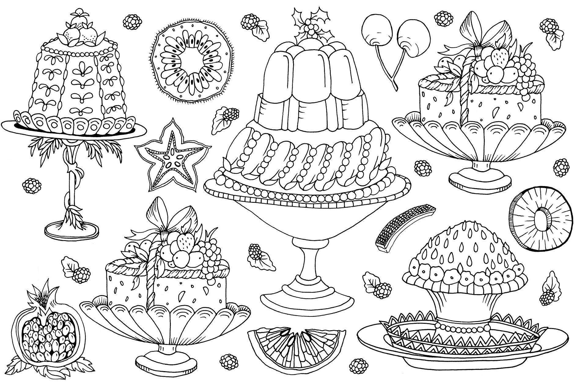 Раскраски сложные для взрослых антистресс сладости «Праздничный стол», чтобы распечатать