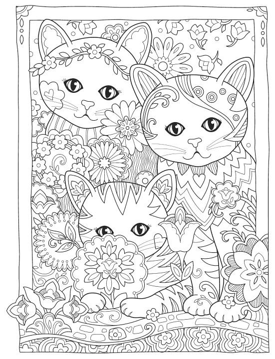 Сложные раскраски антистресс в хорошем качестве Три кота, чтобы распечатать