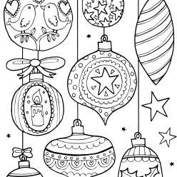 Раскраски антистресс «Разные новогодние шары», чтобы распечатать