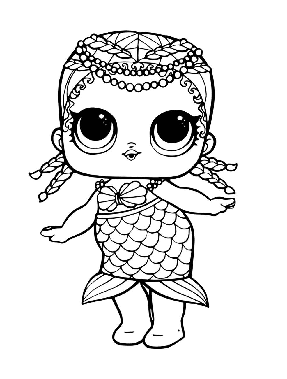 Кукла ЛОЛ русалка - Куклы LOL - Раскраски антистресс