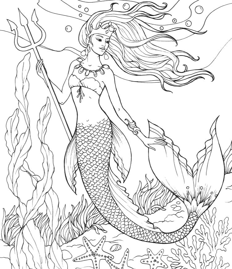 русалка королева с трезубцом русалочки раскраски антистресс