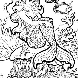 Раскраски «Русалка на кораллах», чтобы распечатать