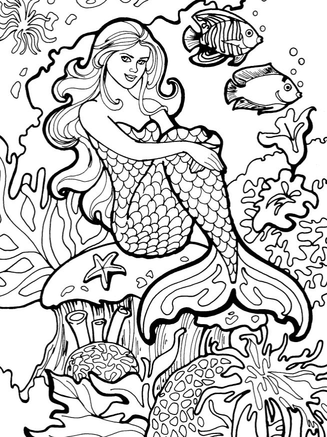 Раскраски для взрослых антистресс «Русалка на кораллах», чтобы распечатать
