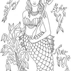 Раскраски для взрослых антистресс «Русалка принцесса с трезубцом», чтобы распечатать