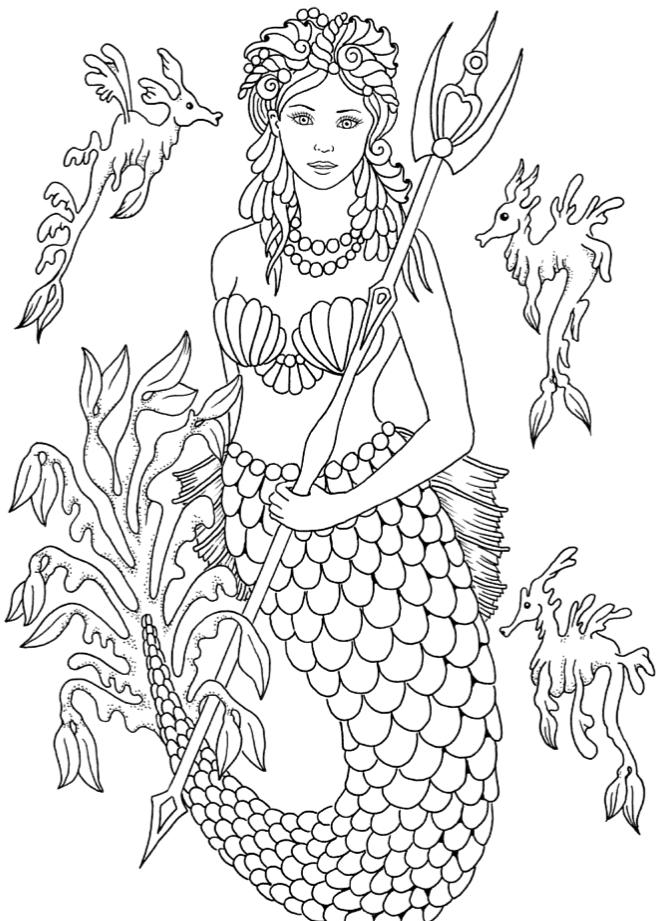 русалка принцесса с трезубцом русалочки раскраски антистресс