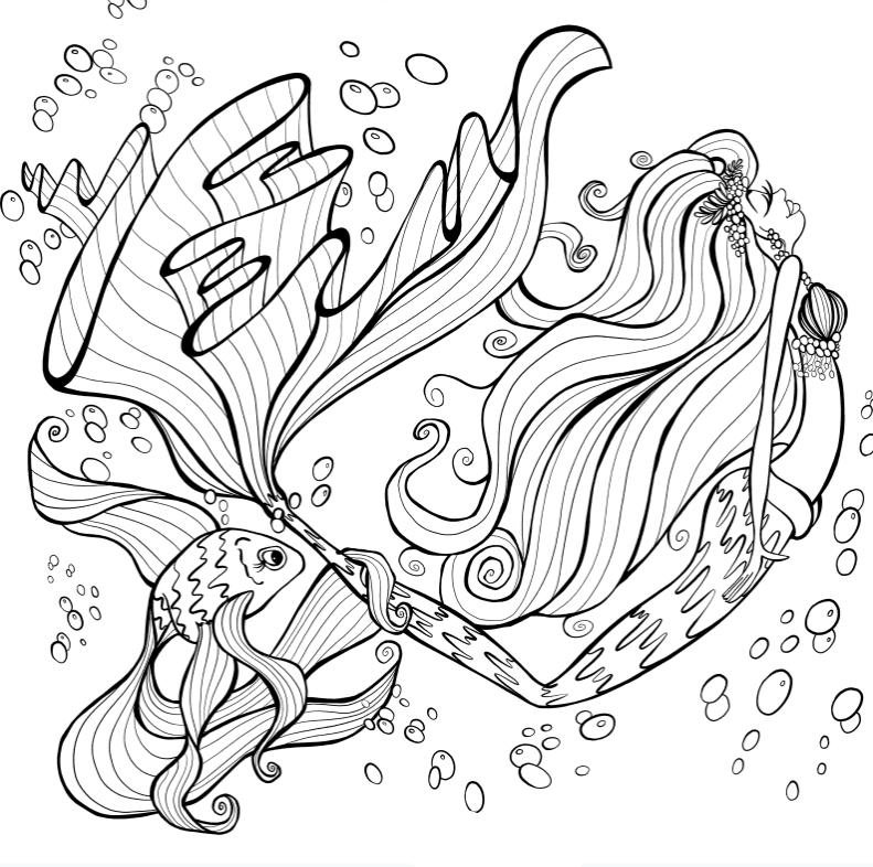 Раскраски для взрослых антистресс «Русалка с красивым хвостом», чтобы распечатать
