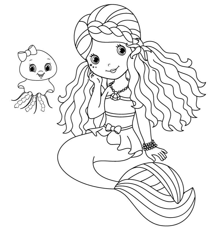Раскраски для детей «Девочка русалочка с малышкой медузой», чтобы распечатать