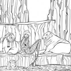 Раскраски для взрослых антистресс «Русалка с моржами на северном полюсе», чтобы распечатать