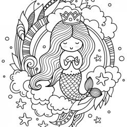 Раскраски антистресс «Русалочка девочка», чтобы распечатать