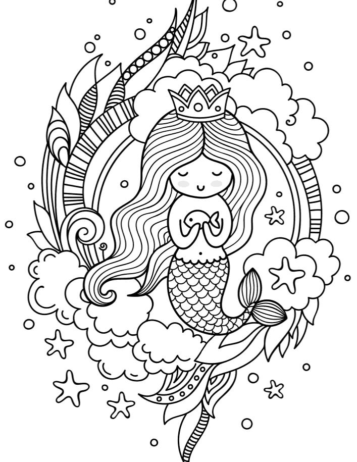 Русалочка девочка - Русалочки - Раскраски антистресс