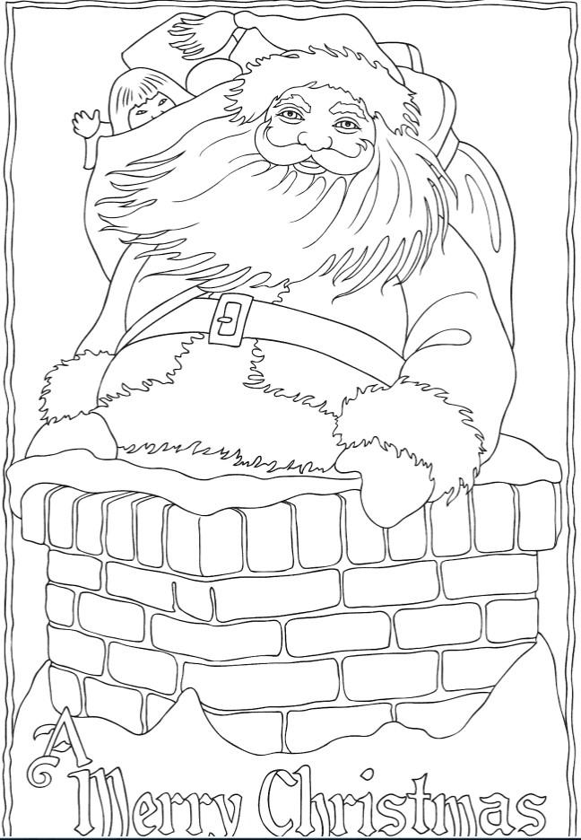 Раскраски сложные для взрослых антистресс «Санта с мешком подарков в трубе», чтобы распечатать