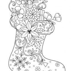Раскраски сложные для взрослых антистресс «Новогодний сапог», чтобы распечатать