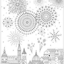 Раскраски сложные для взрослых антистресс «Салют над городом», чтобы распечатать