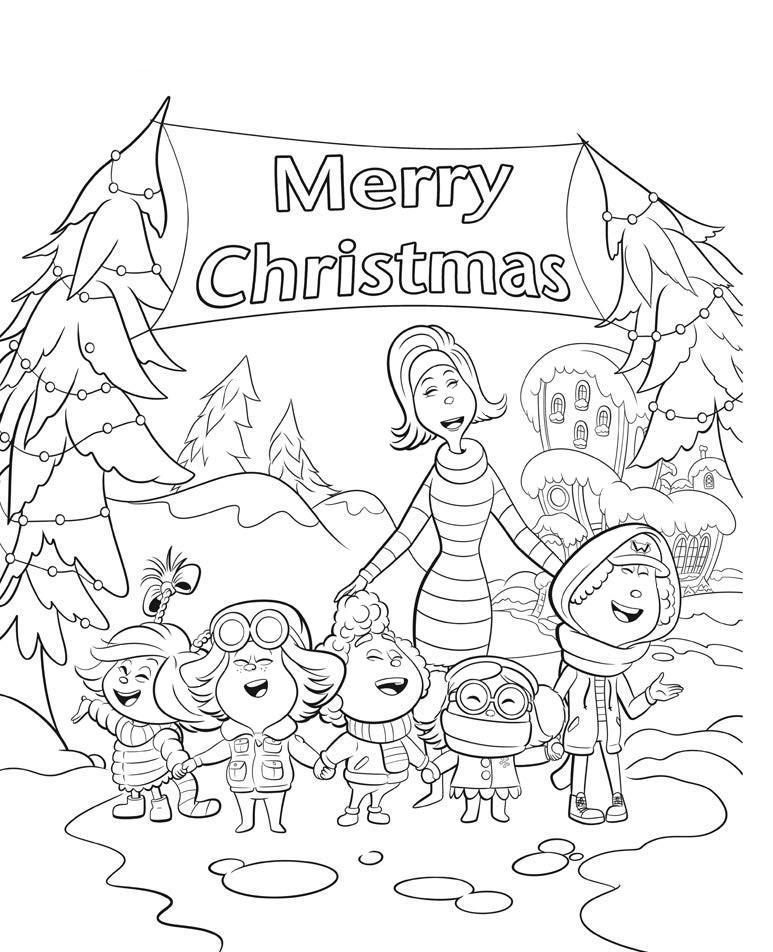 Раскраски для детей из мультика Гринч «Ктошки поют песни на рождество», чтобы распечатать