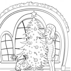 Раскраски для детей Гринч 2018 «Синди Лу и мама наряжают елку перед Рождеством», чтобы распечатать