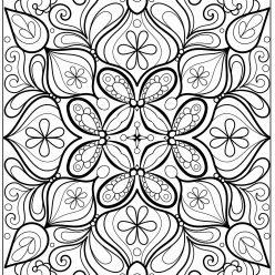 Раскраски сложные для взрослых антистресс Новый год «Снежинка Звезда», чтобы распечатать