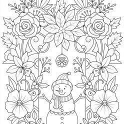 Раскраски сложные для взрослых антистресс «Снеговик», чтобы распечатать