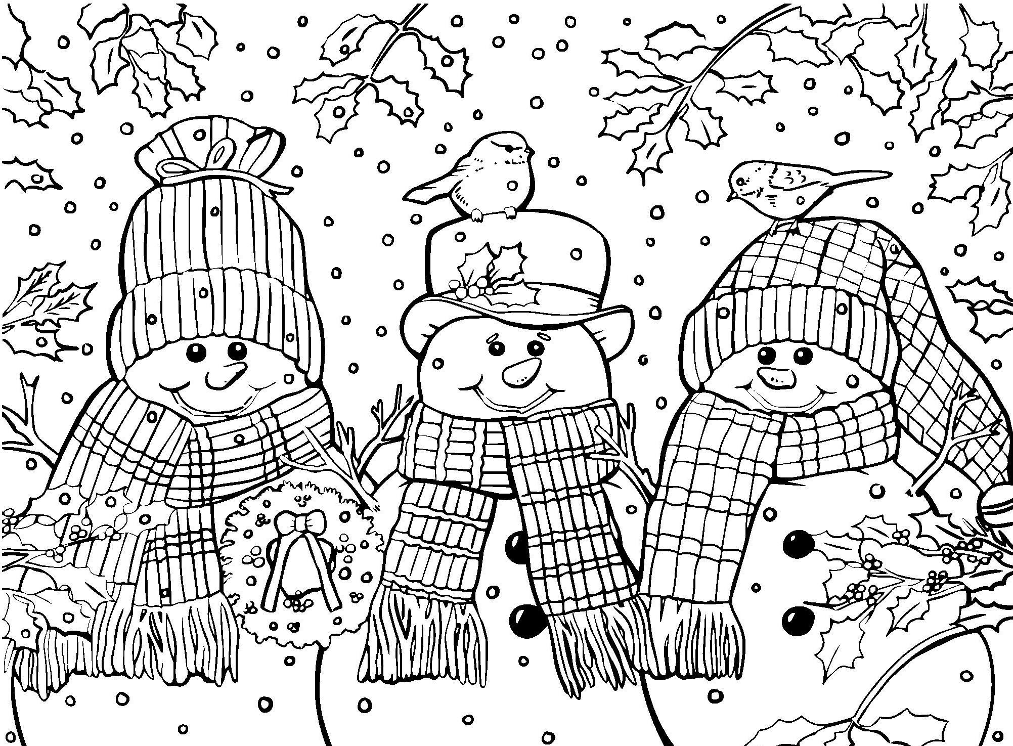 Раскраски антистресс распечатать Новый год Снеговики в шарфах