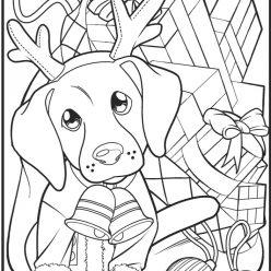 Раскраски сложные для взрослых антистресс «Новогодняя собака», чтобы распечатать