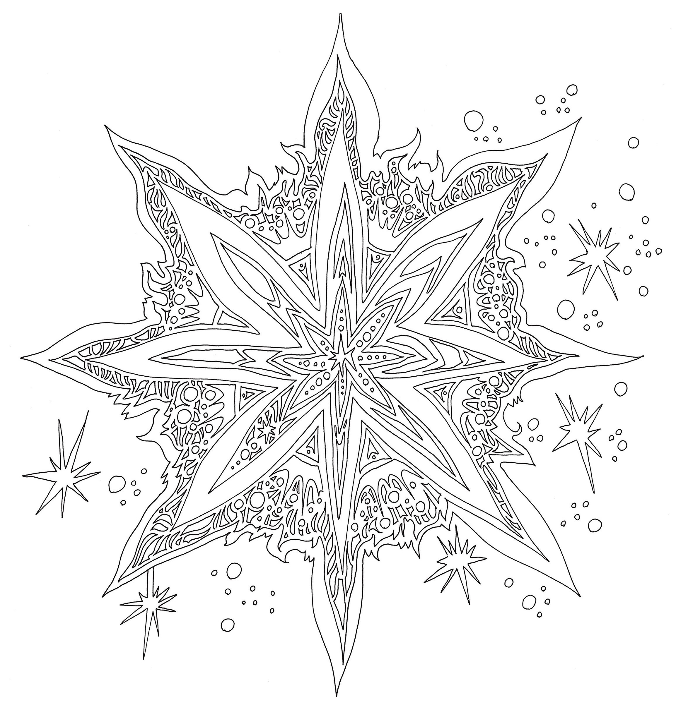 Раскраски сложные для взрослых антистресс «Снежинка Сосулька», чтобы распечатать