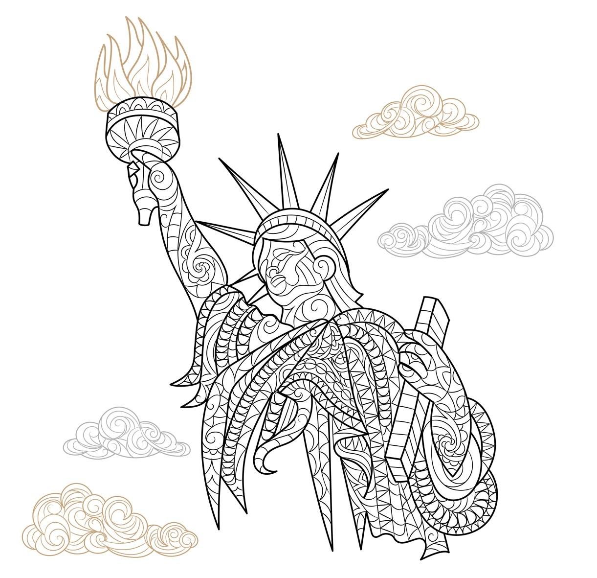 Раскраски сложные для взрослых антистресс город Нью Йорк «Статуя Свободы», чтобы распечатать