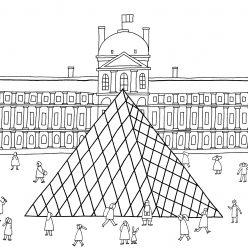Раскраски сложные для взрослых антистресс «Стеклянная пирамида Лувр», чтобы распечатать