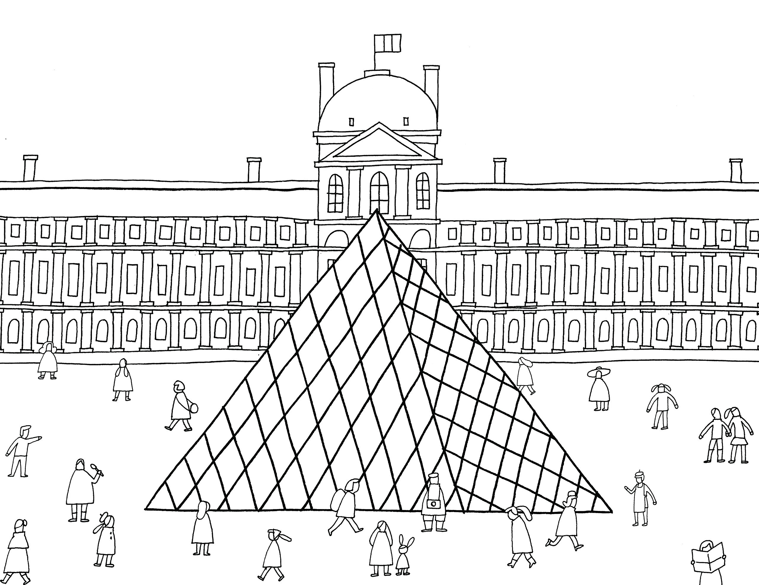 Раскраски сложные для взрослых антистресс «Стеклянная пирамида», чтобы распечатать