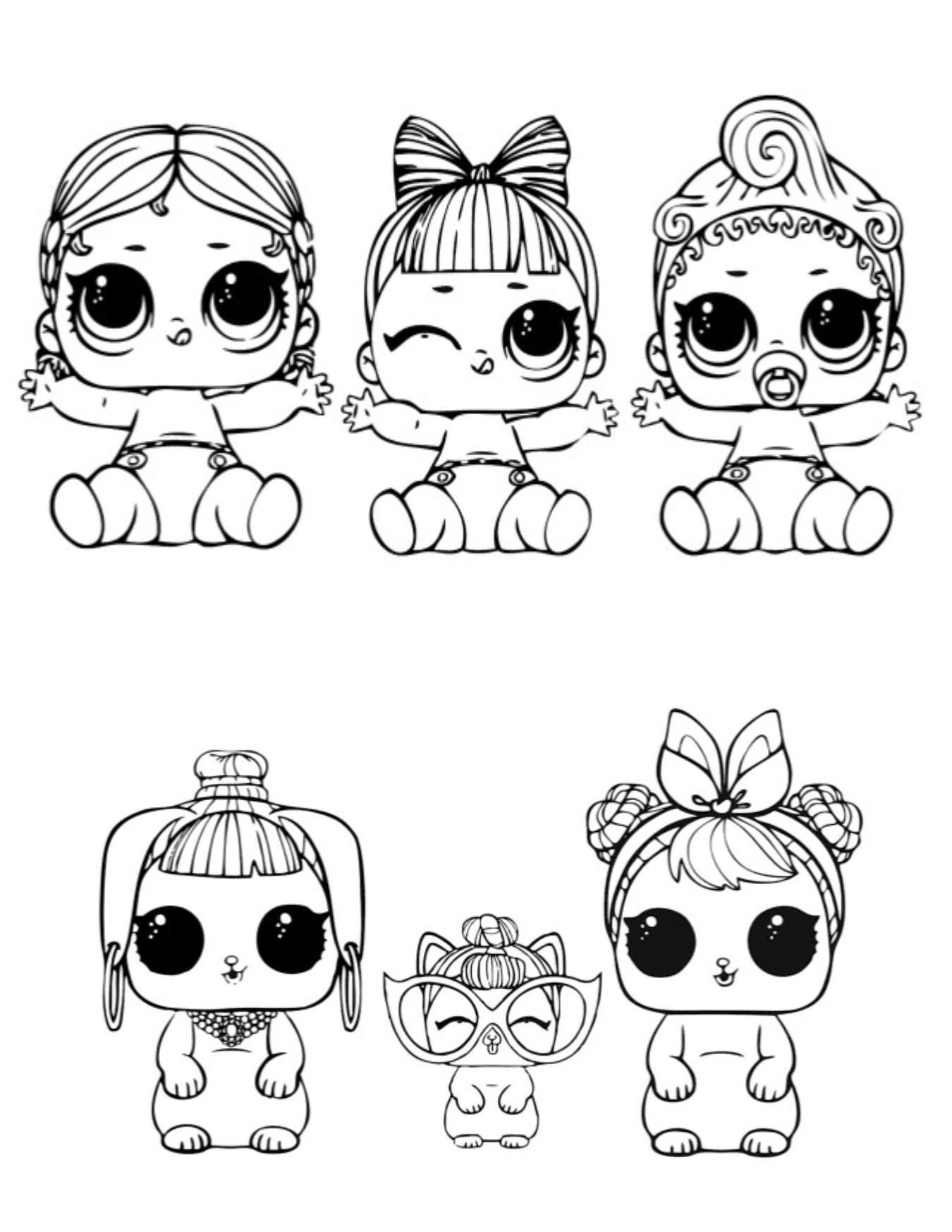 Раскраски для детей Кукла лол «три сестренки и петс», чтобы распечатать формат А4