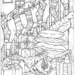 Раскраски сложные для взрослых антистресс «Новогоднее украшение лестницы в доме», чтобы распечатать