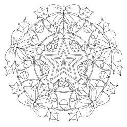 Раскраски сложные для взрослых антистресс «Новогодний венок из колокольчиков и шишек», чтобы распечатать