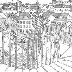 Раскраски сложные для взрослых антистресс «Крыши города», чтобы распечатать