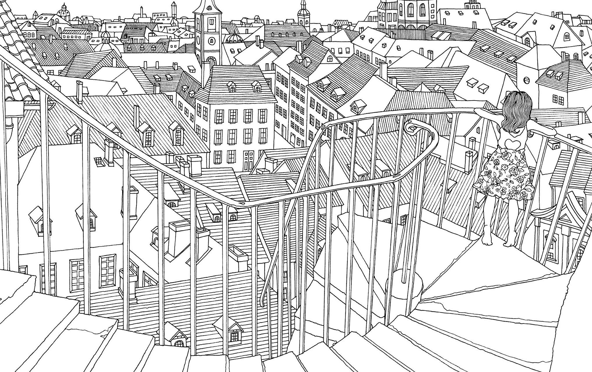 Крыши города - Города - Раскраски антистресс