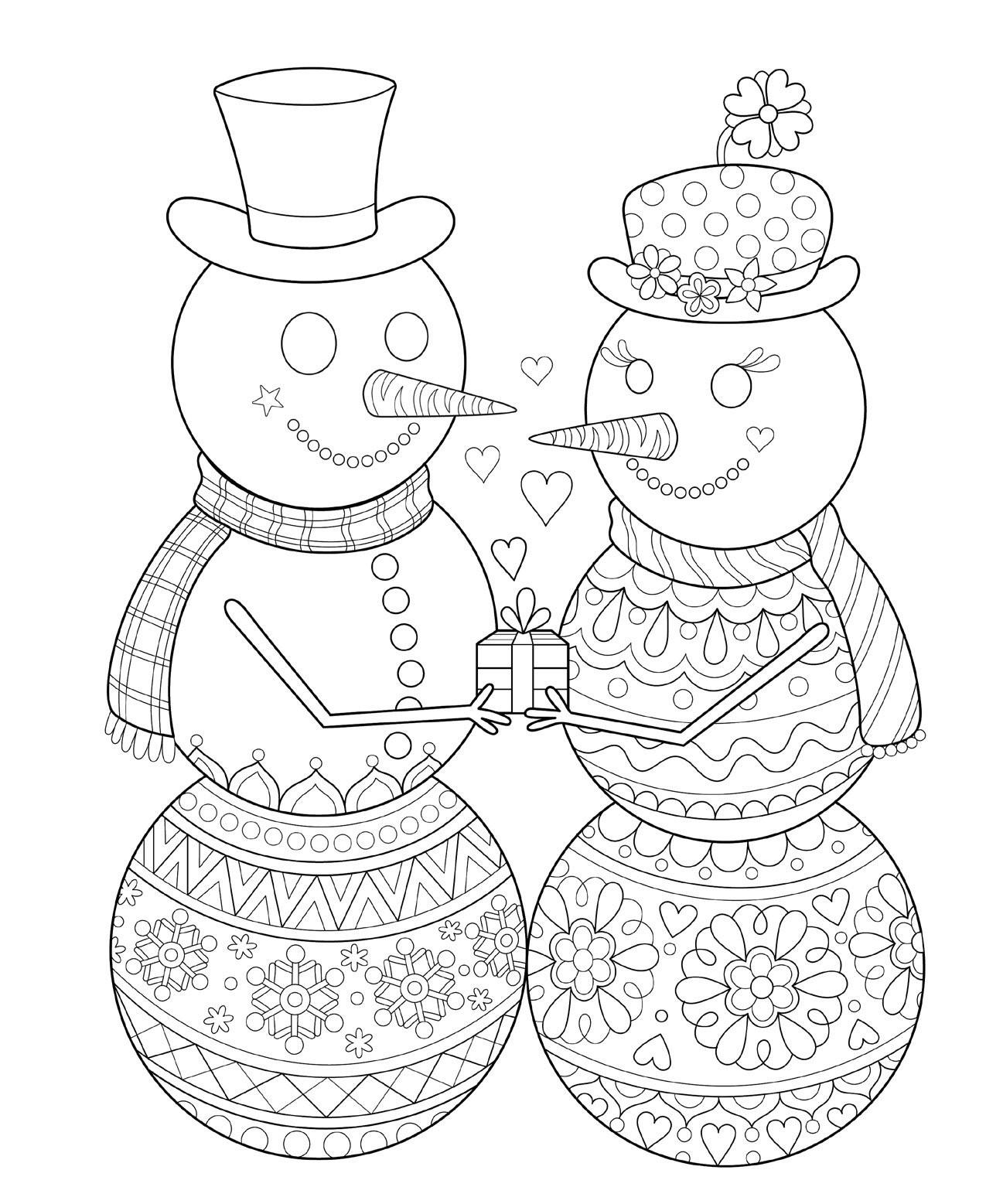Раскраски сложные для взрослых антистресс «снеговики мальчик и девочка», чтобы распечатать