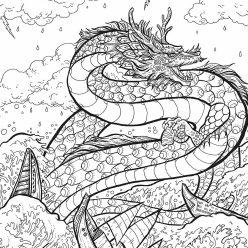 Раскраски антистресс сказочные герои Водный дракон в шторм