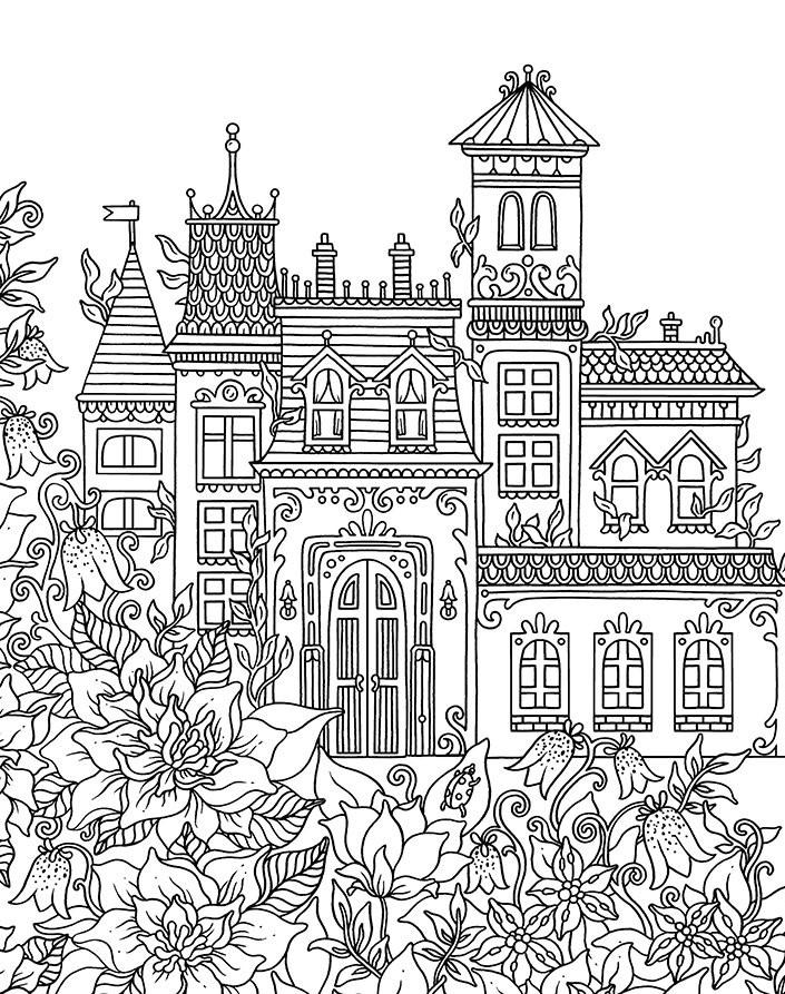 Раскраски сложные для взрослых антистресс «Замок с садом», чтобы распечатать