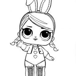 Раскраски кукла лол для детей «Зайка», чтобы распечатать
