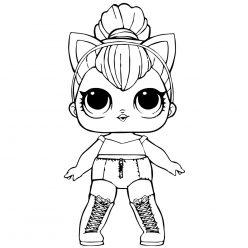 Раскраски кукла лол для девочек «Китти квин», чтобы распечатать и раскрасить онлайн