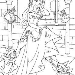Раскраски принцесса Дисней для девочек «Аврора с феями», чтобы распечатать