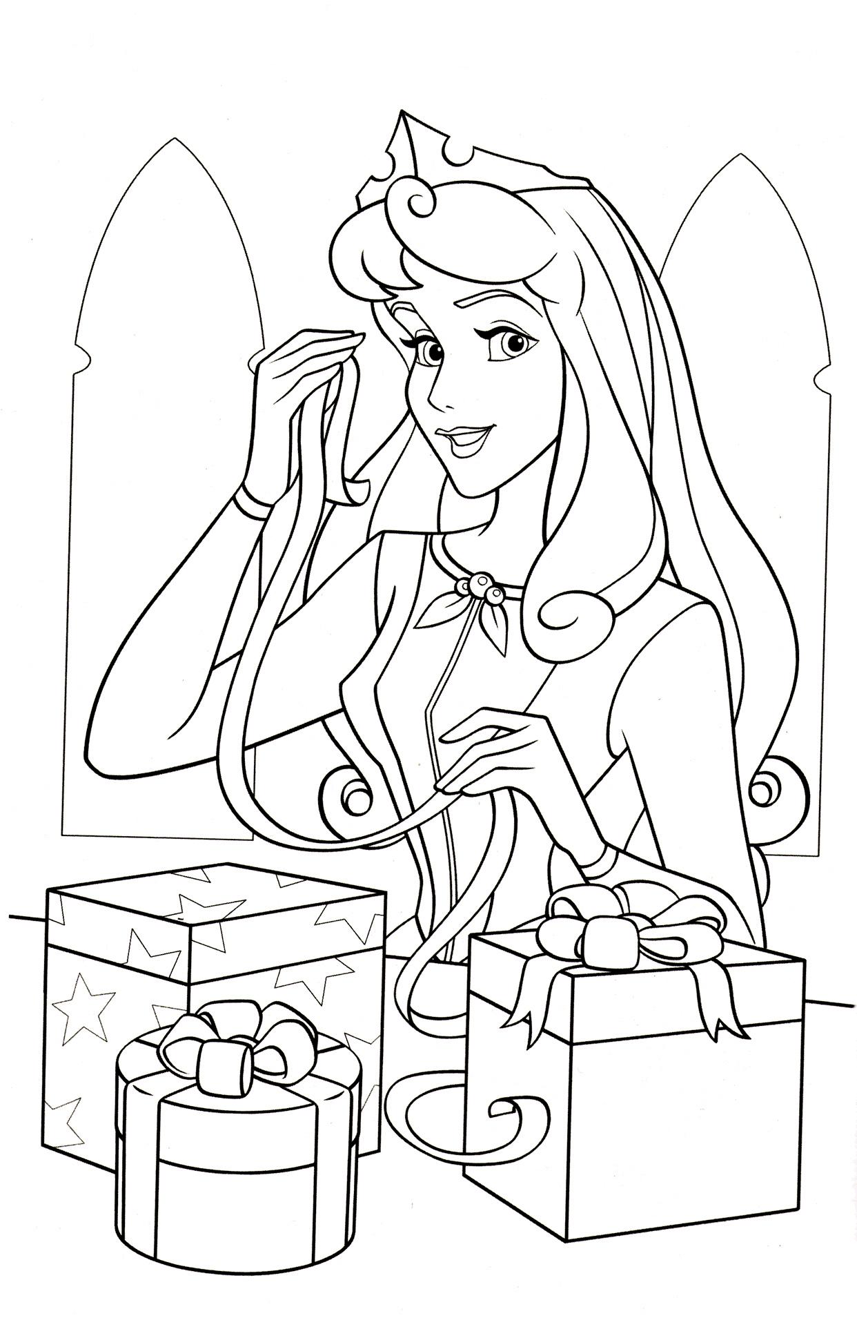 Аврора с подарками - Принцессы Дисней - Раскраски антистресс