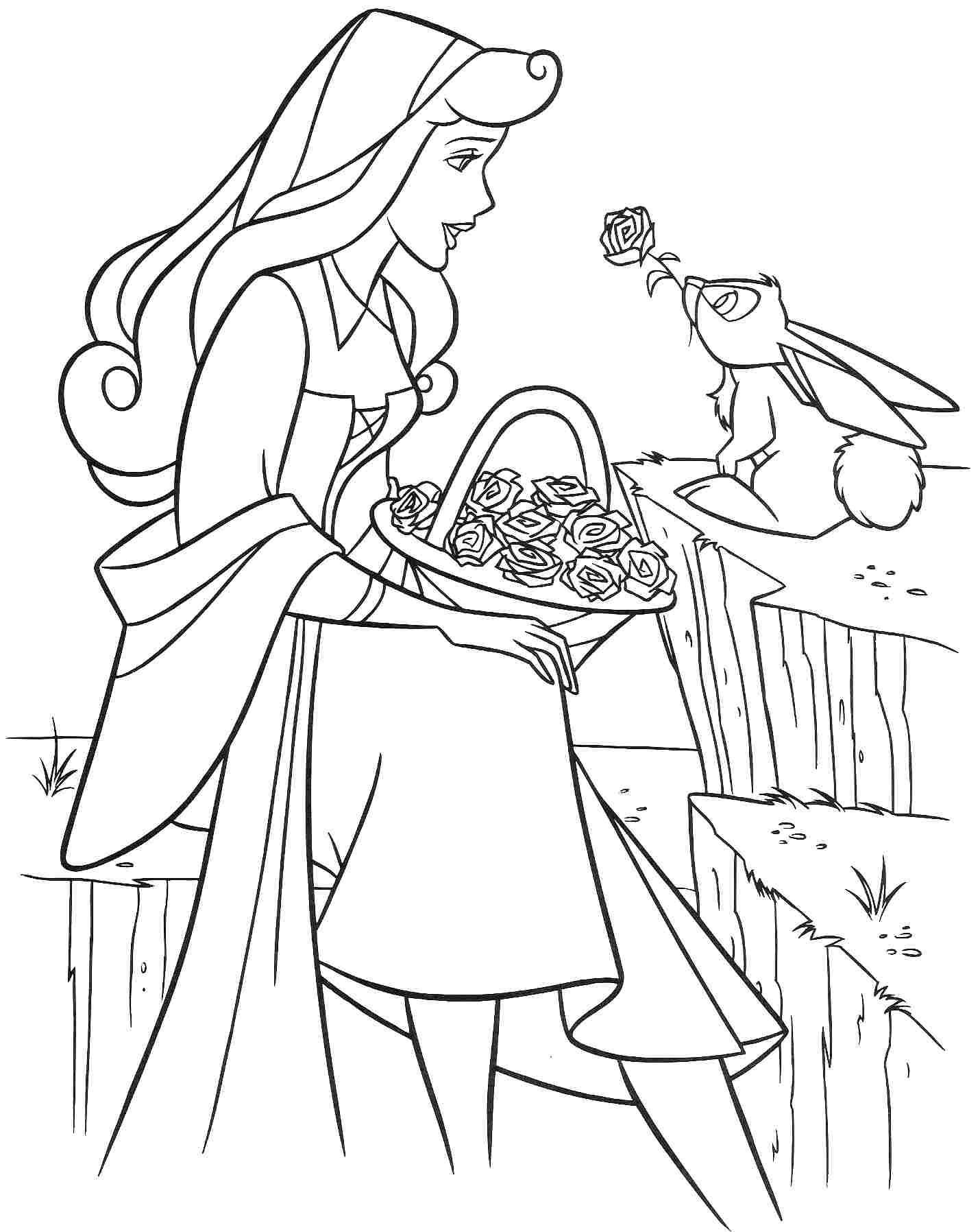 Раскраски принцесса Дисней для девочек «Принцесса Аврора с цветами», чтобы распечатать