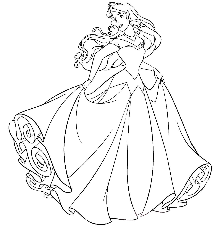 Раскраски принцесса Дисней для девочек «Аврора в свадебном платье», чтобы распечатать