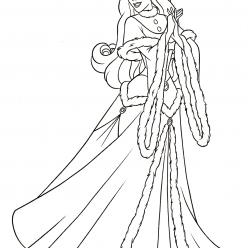 Раскраски принцесса Дисней для девочек «Спящая красавица в зимнем наряде», чтобы распечатать