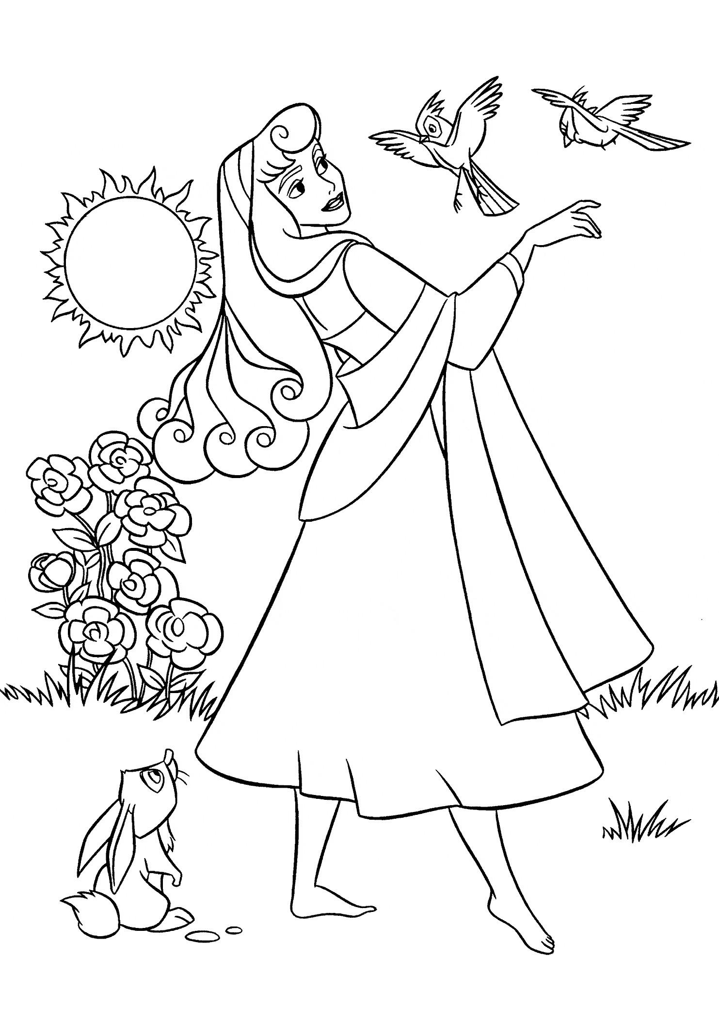 Раскраски принцесса Дисней для девочек «Принцесса Аврора в лесу с животными», чтобы распечатать