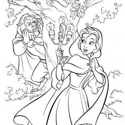 Раскраски принцесса Дисней для девочек «Белль пришла в замок к чудовищу», чтобы распечатать