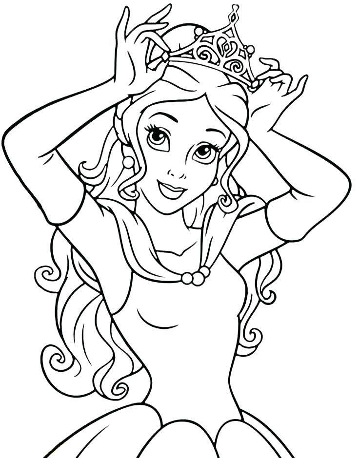 Раскраски принцесса Дисней для девочек «Белль с короной», чтобы распечатать